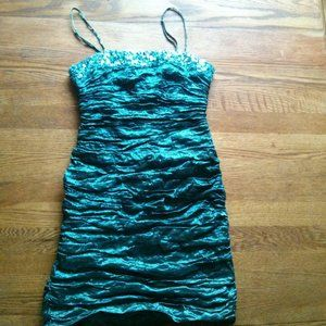 BCBG Maxazria Metallic Blue Ruched Dress